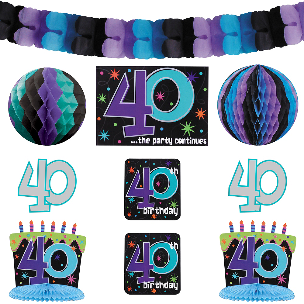 The Party Continues 40th Birthday Room Decorating Kit 10pc Image 1