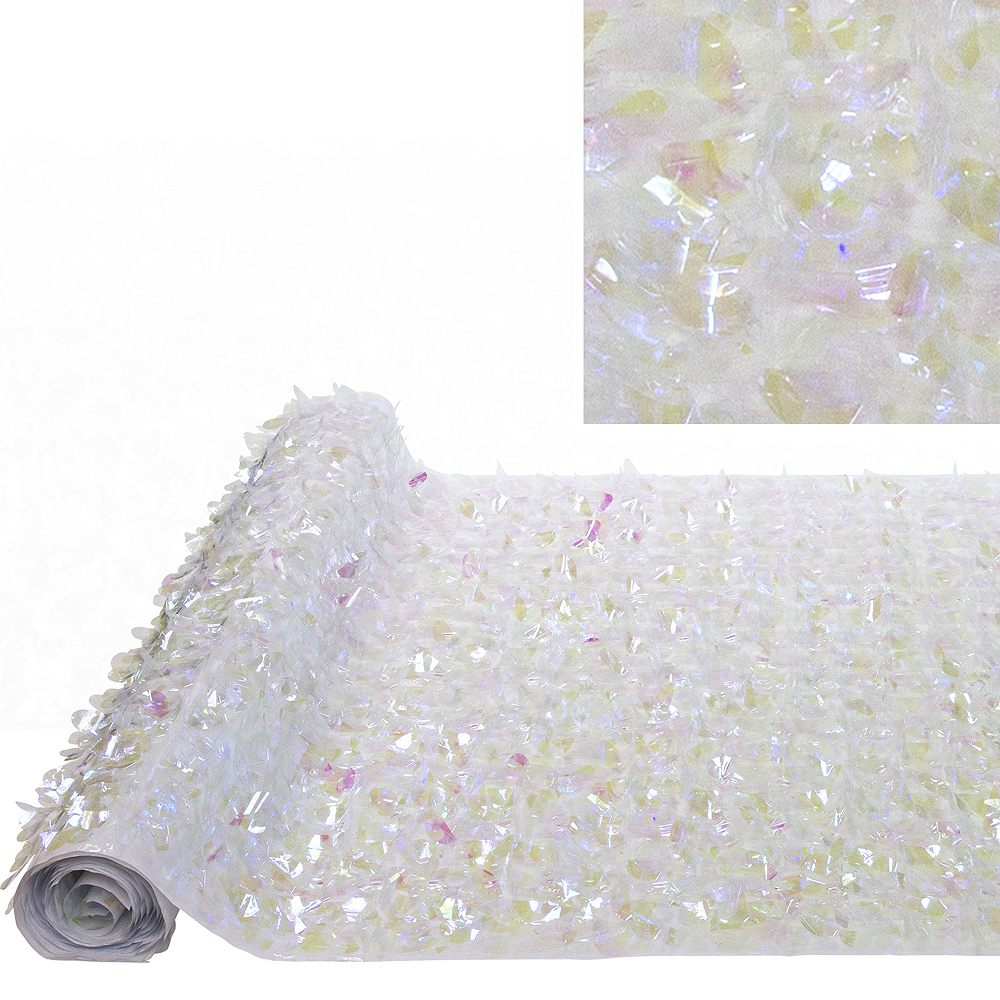 White Iridescent Floral Sheeting Image #1