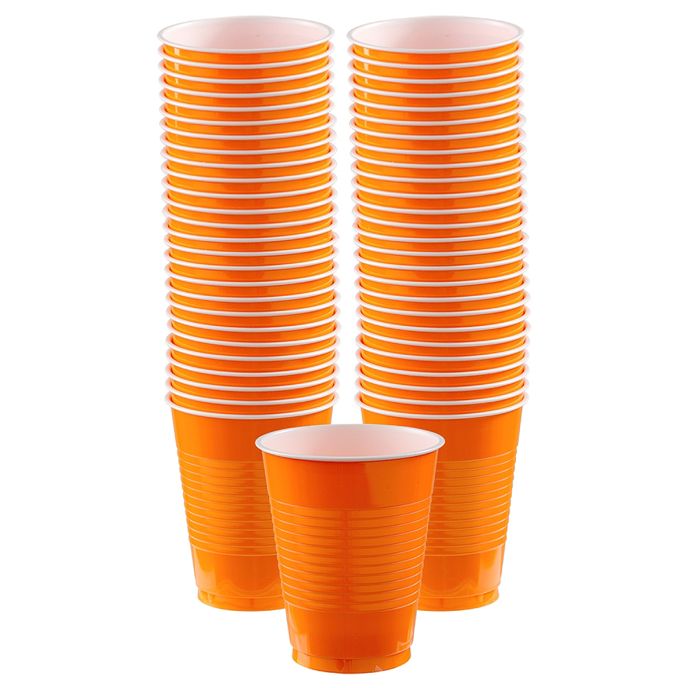 Nav Item for Orange Plastic Cups, 16oz, 50ct Image #1