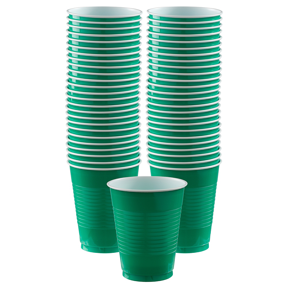 Big Party Pack Festive Green Plastic Cups 50ct Image #1
