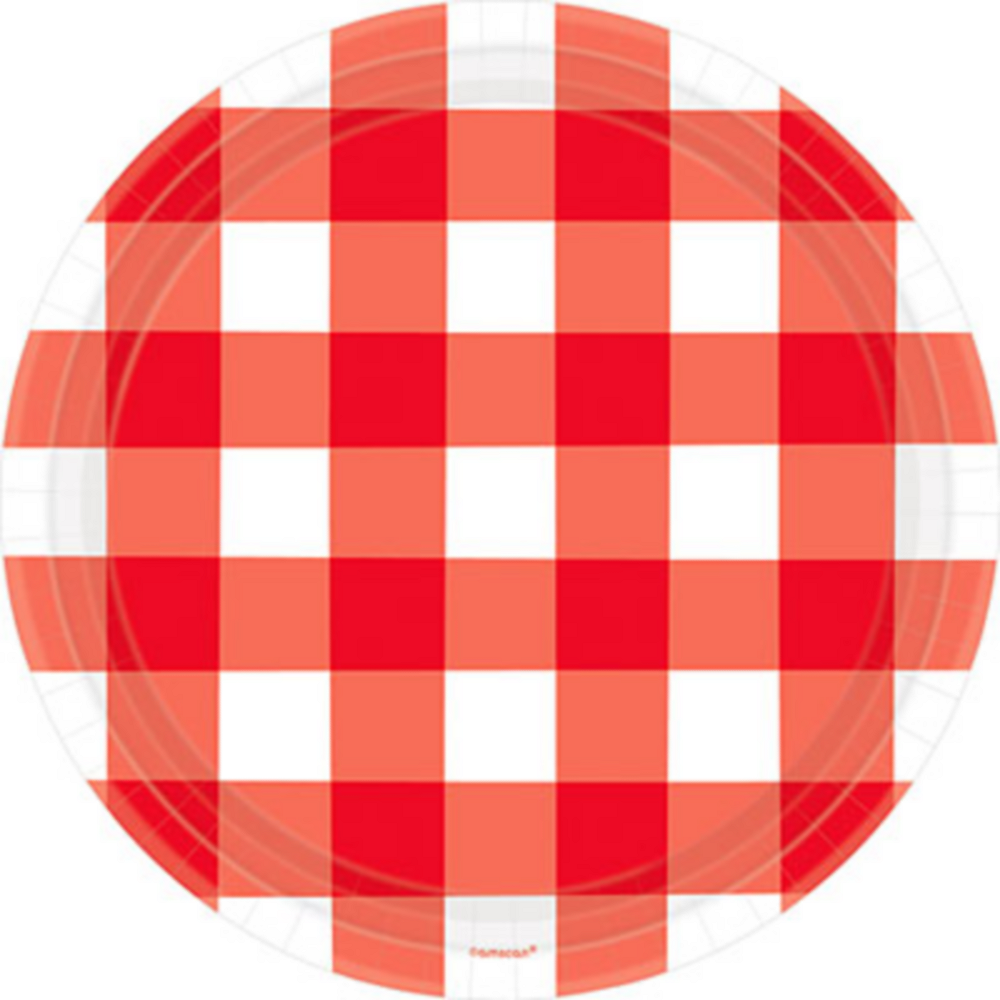 American Summer Red Gingham Dinner Plates 8ct Image #1