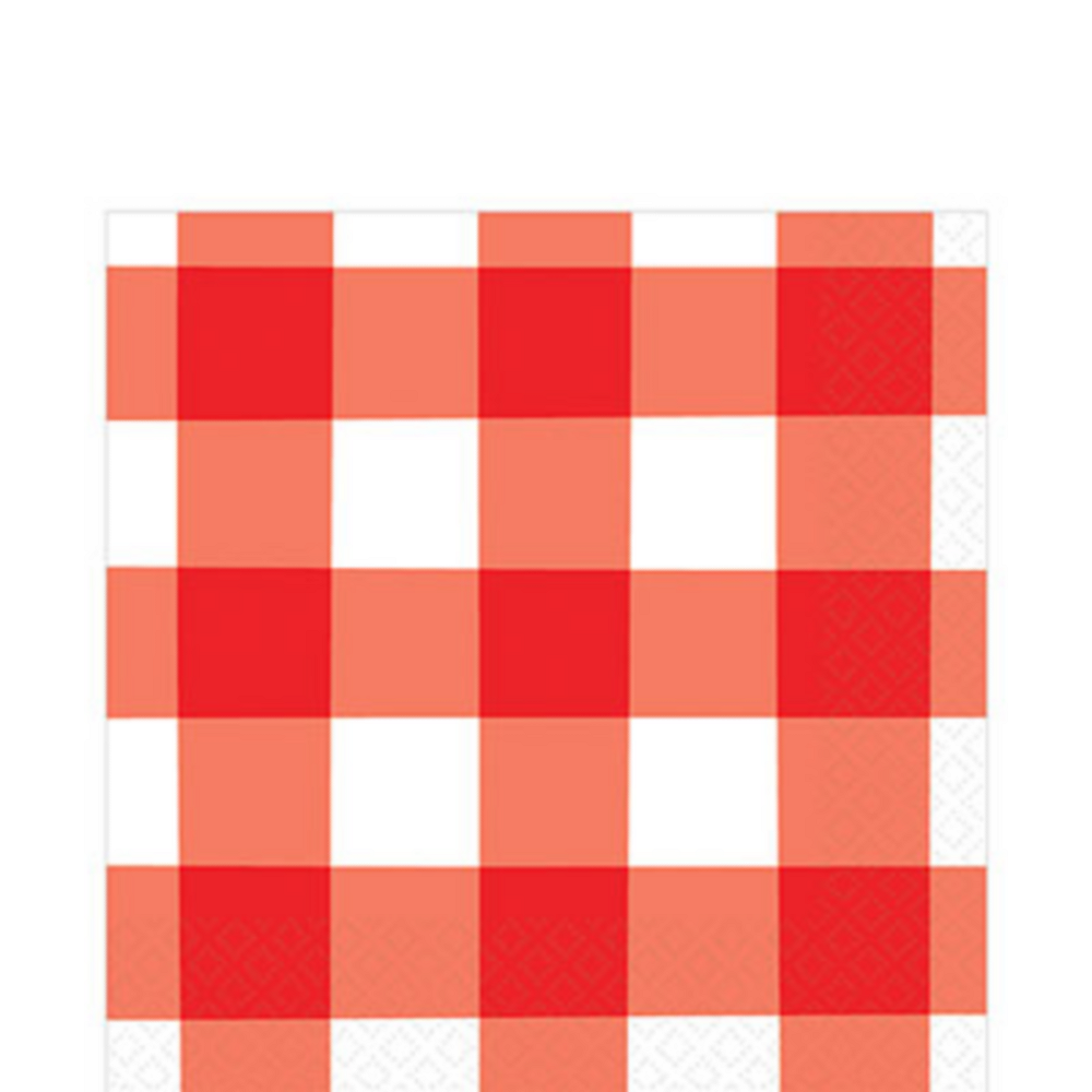 Red Gingham Picnic Party Paper Lunch Napkins x 16