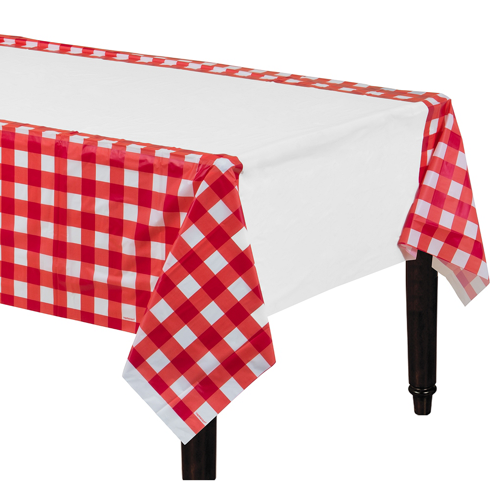 American Summer Red Gingham Plastic Table Cover Image #1