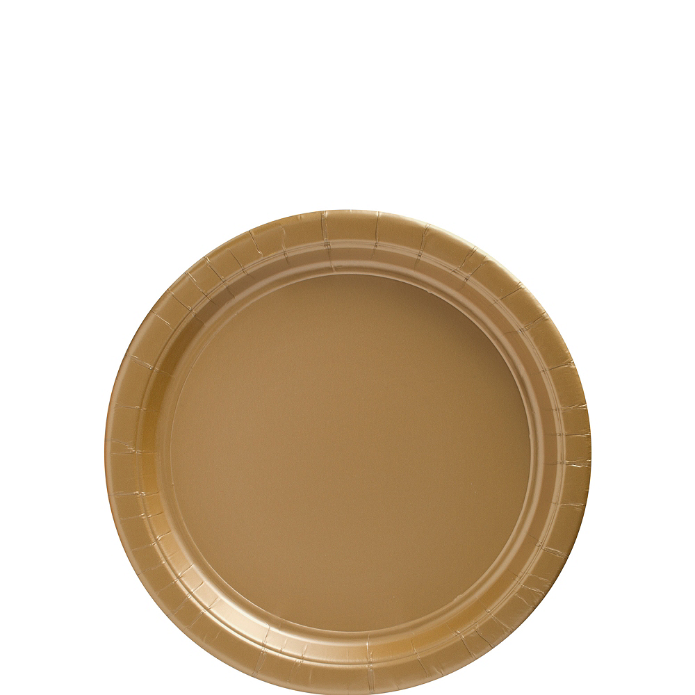 Gold Paper Dessert Plates, 7in, 50ct Image #1