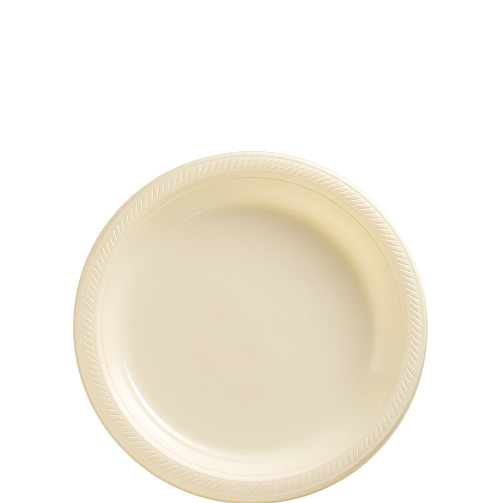 Nav Item for Vanilla Cream Plastic Dessert Plates, 7in, 50ct Image #1