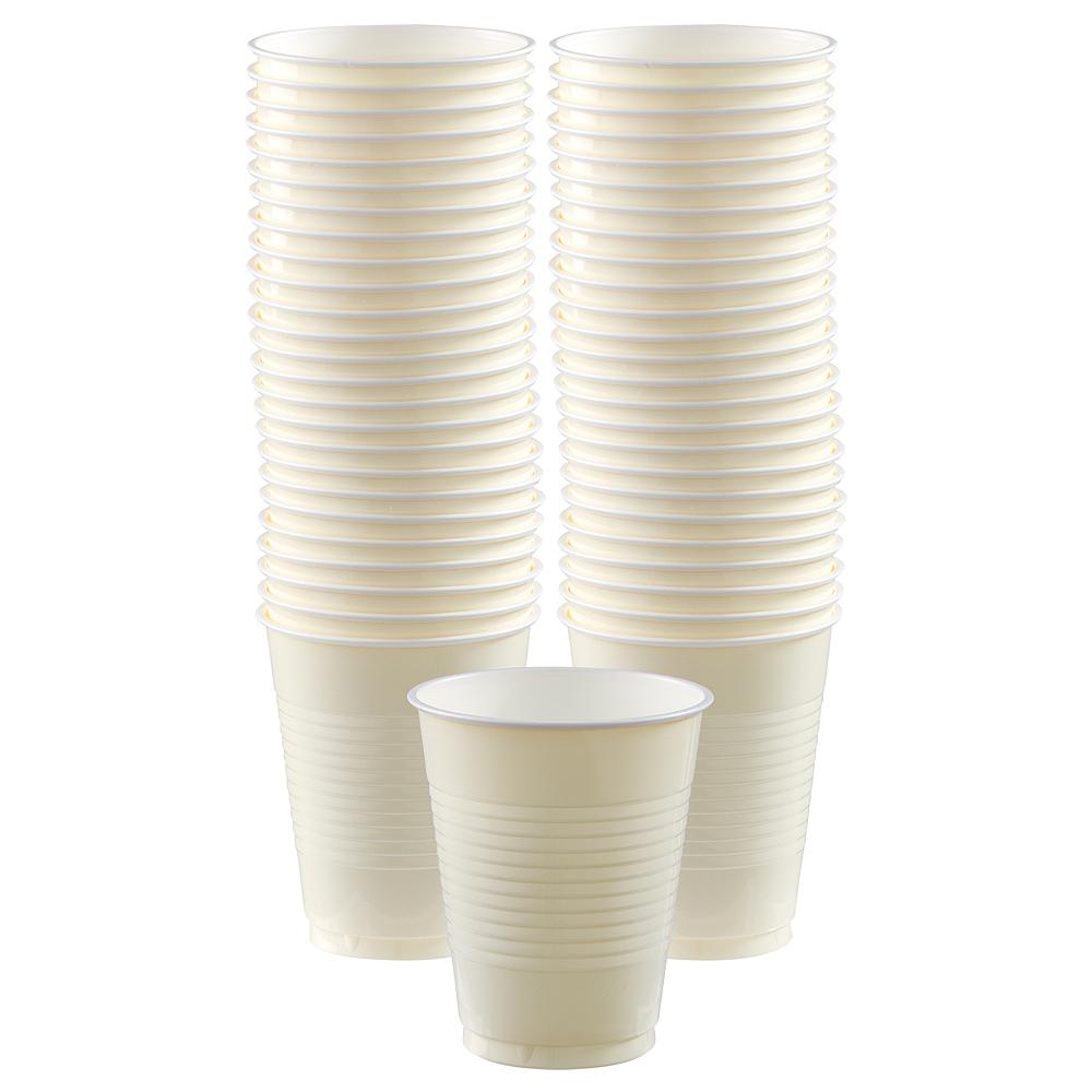 Big Party Pack Vanilla Cream Plastic Cups 50ct Image #1