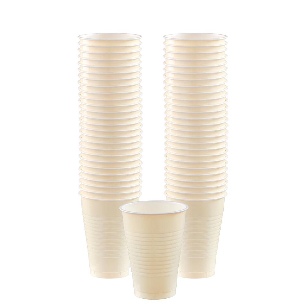 Vanilla Cream Plastic Cups, 12oz, 50ct Image #1