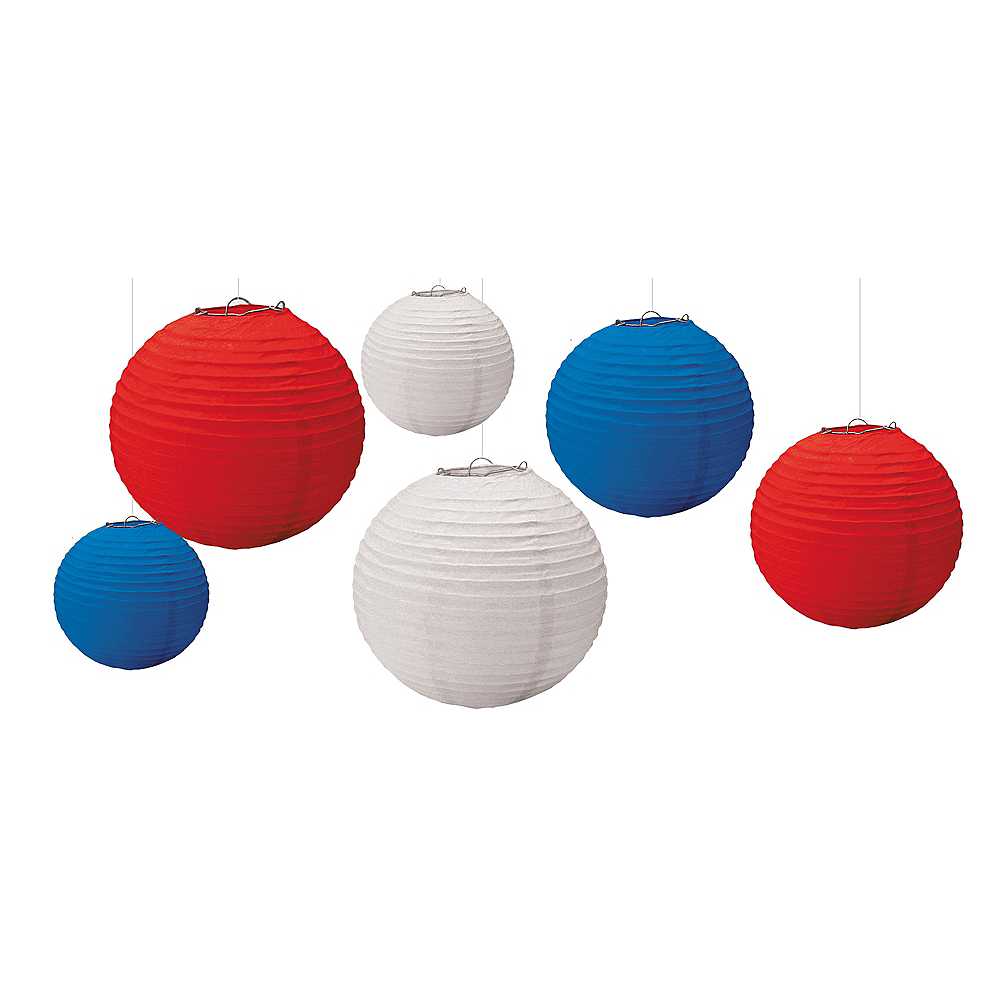 Patriotic Red, White & Blue Paper Lanterns 6ct Image #1
