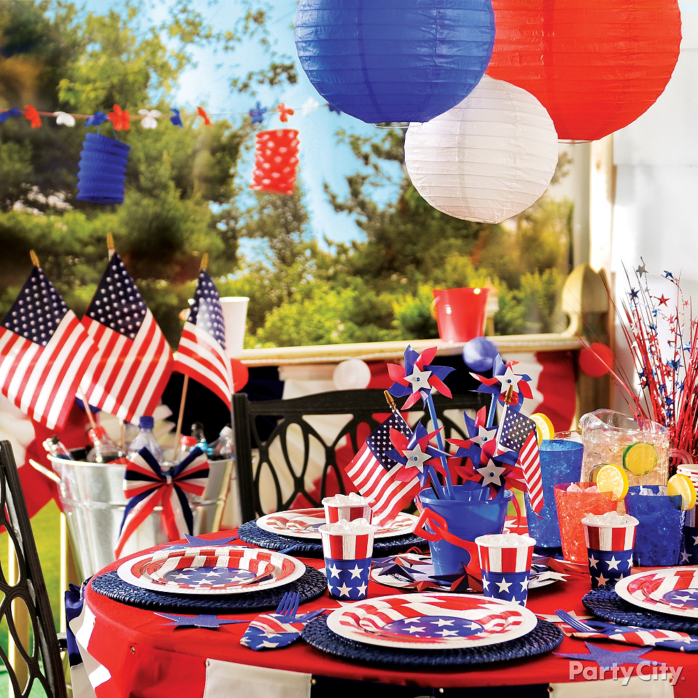 Patriotic Red, White & Blue Paper Lanterns 6ct Image #2