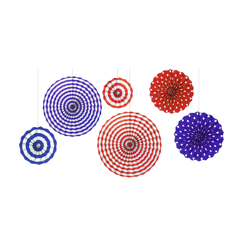 Nav Item For Patriotic Red White Blue Paper Fan Decorations 6ct Image