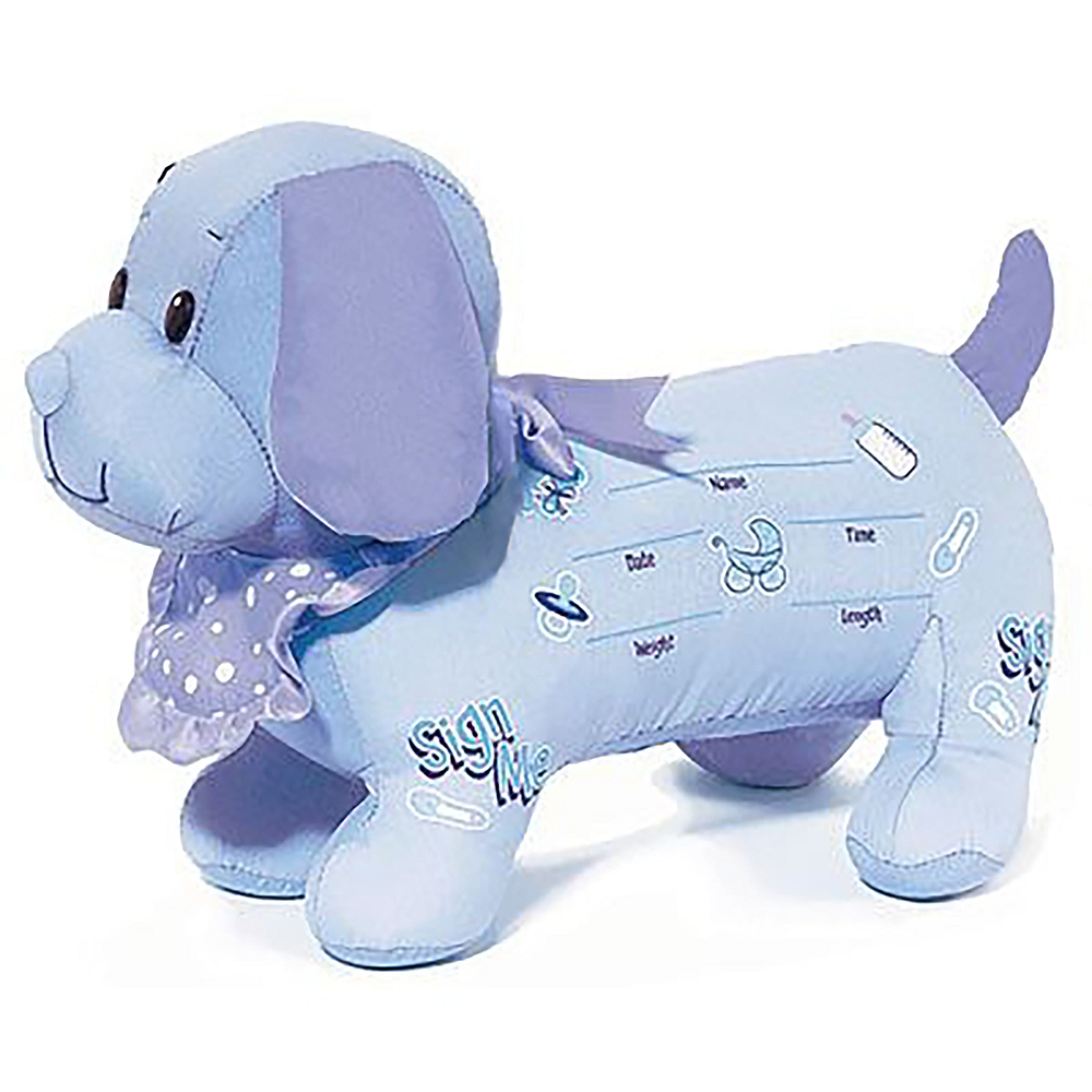It's a Boy Baby Shower Autograph Plush Dog Image #1