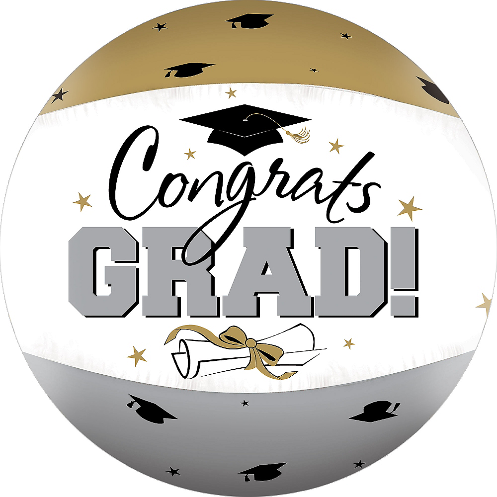 Black, Gold & Silver Autograph Graduation Beach Ball 22in | Party City