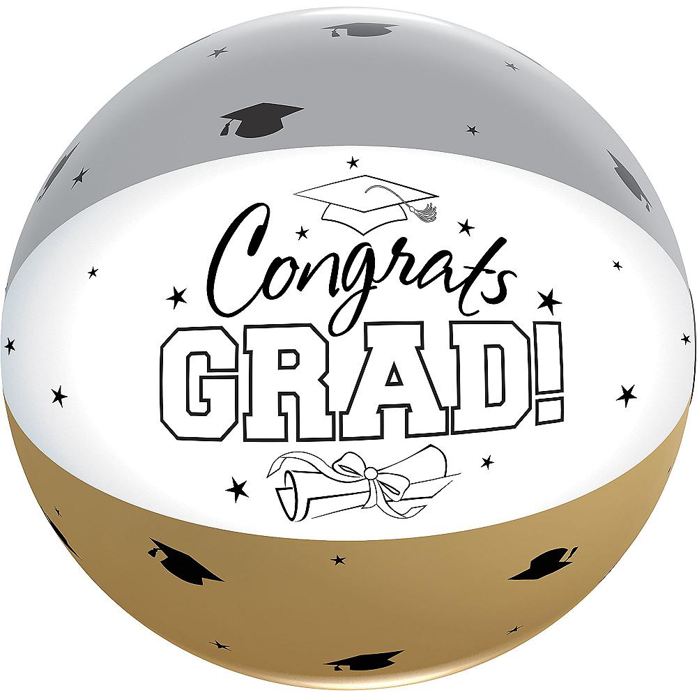 Black, Gold & Silver Graduation Autograph Beach Ball Image #2