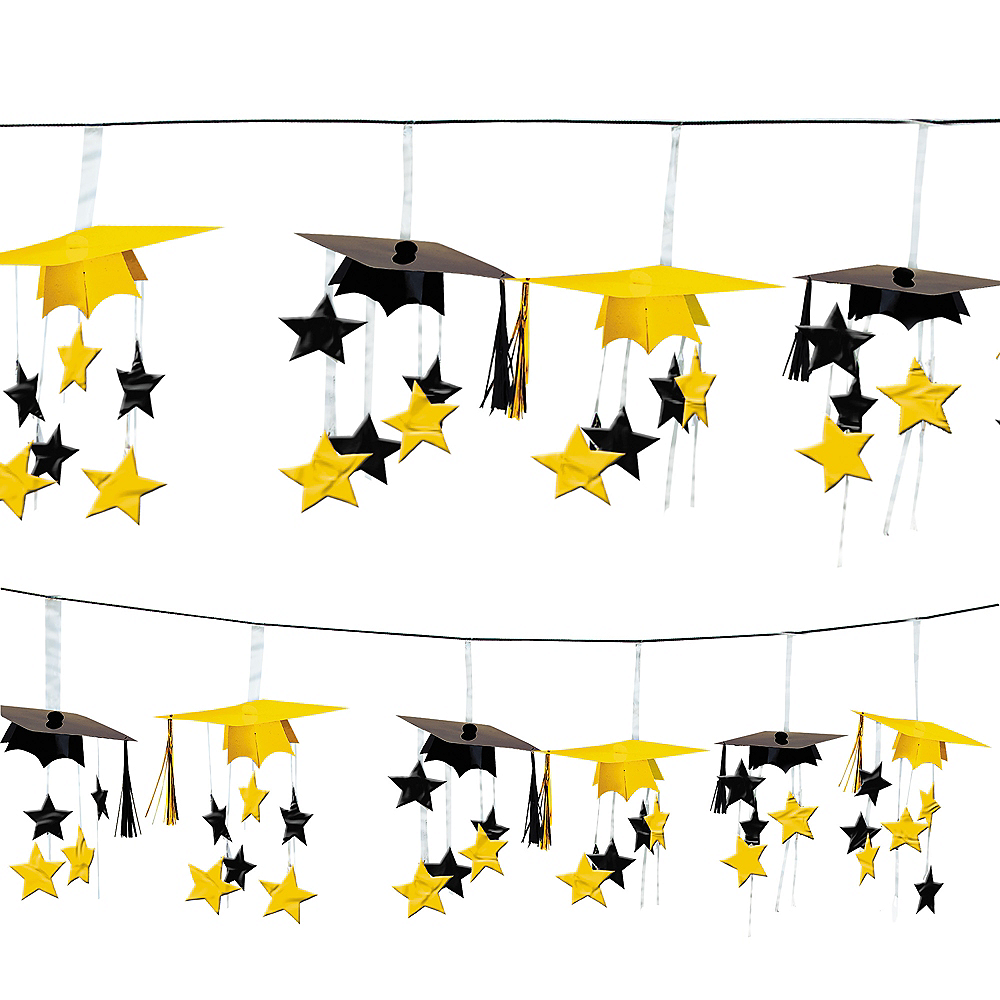 Yellow 3D Grad Cap Graduation Garland Image #1