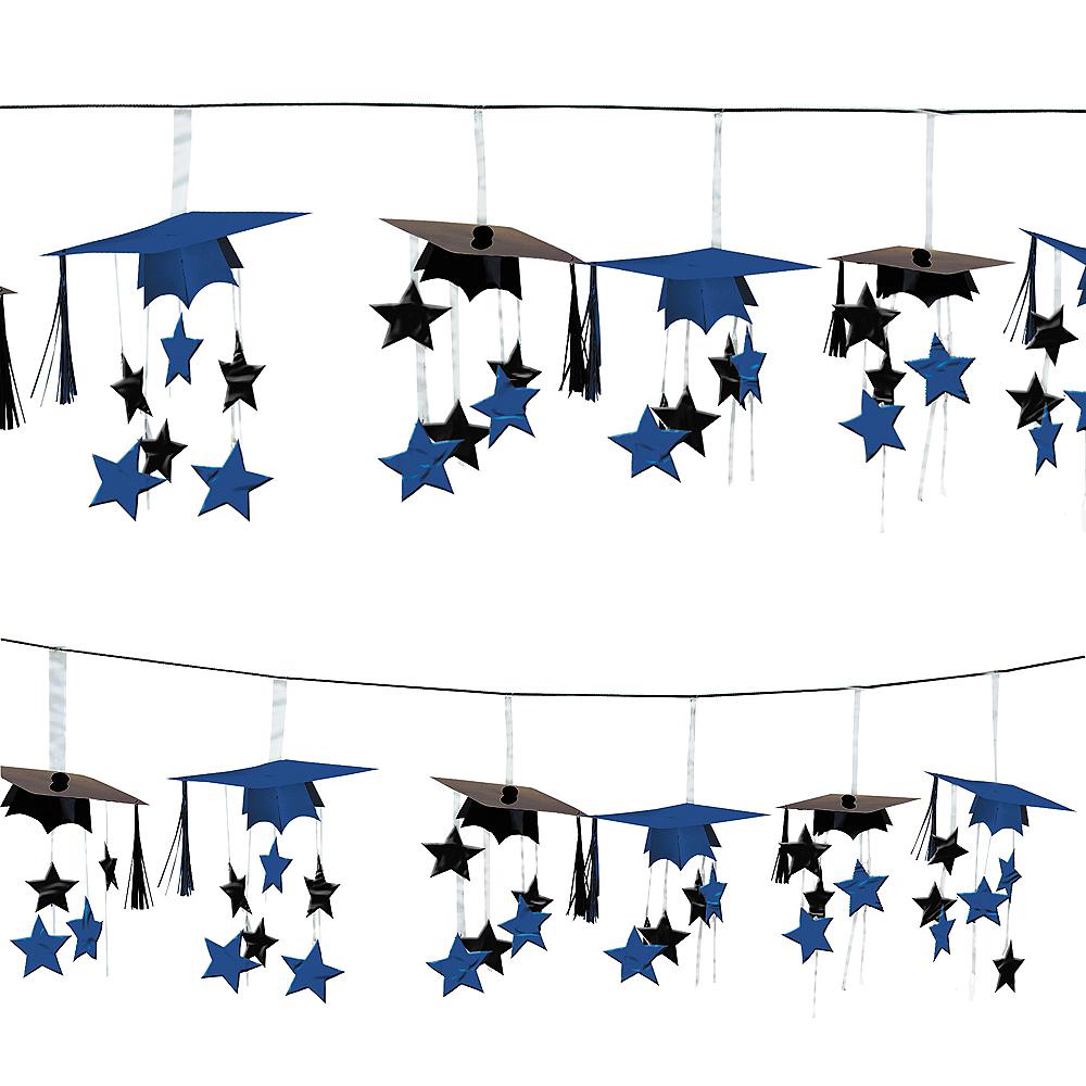 Royal Blue 3D Grad Cap Graduation Garland Image #1