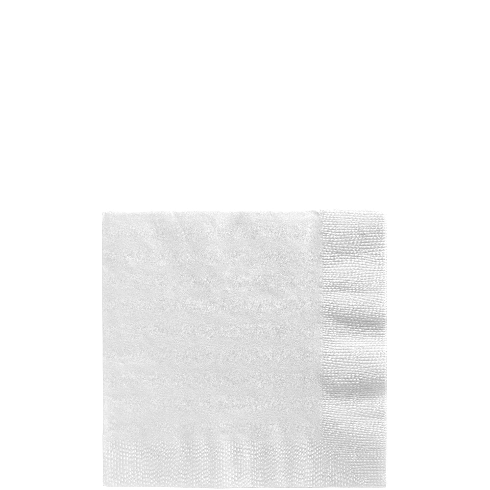 White Beverage Napkins 50ct Image #1