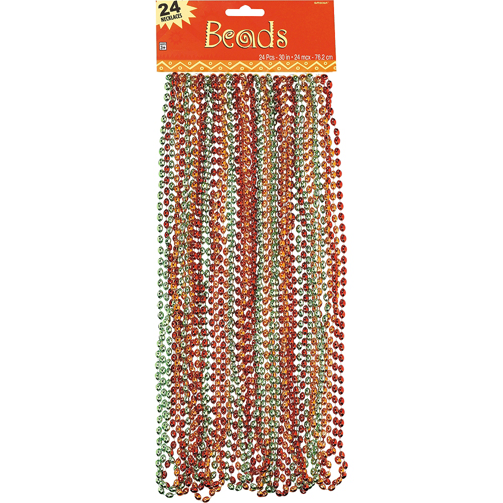 Orange, Green & Red Bead Necklaces 24ct Image #2