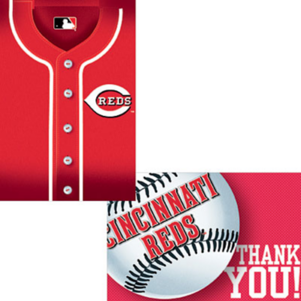 Cincinnati Reds Invitations & Thank You Notes for 8 Image #1