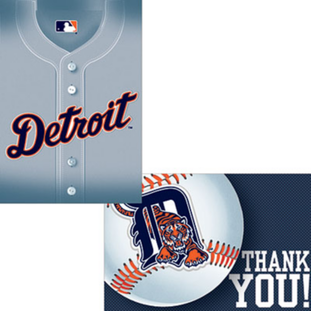 Detroit Tigers Invitations & Thank You Notes for 8 | Party City