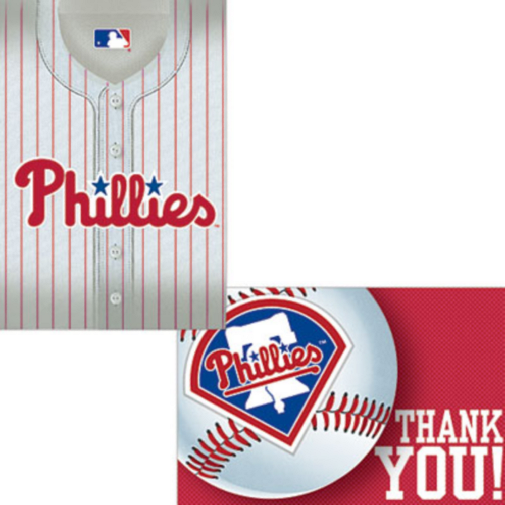Philadelphia Phillies Invitations & Thank You Notes for 8 Image #1