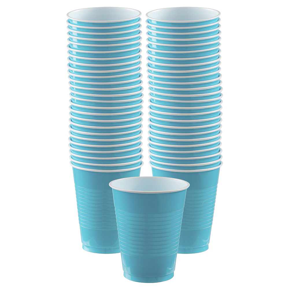 Nav Item for Caribbean Blue Plastic Cups, 16oz, 50ct Image #1