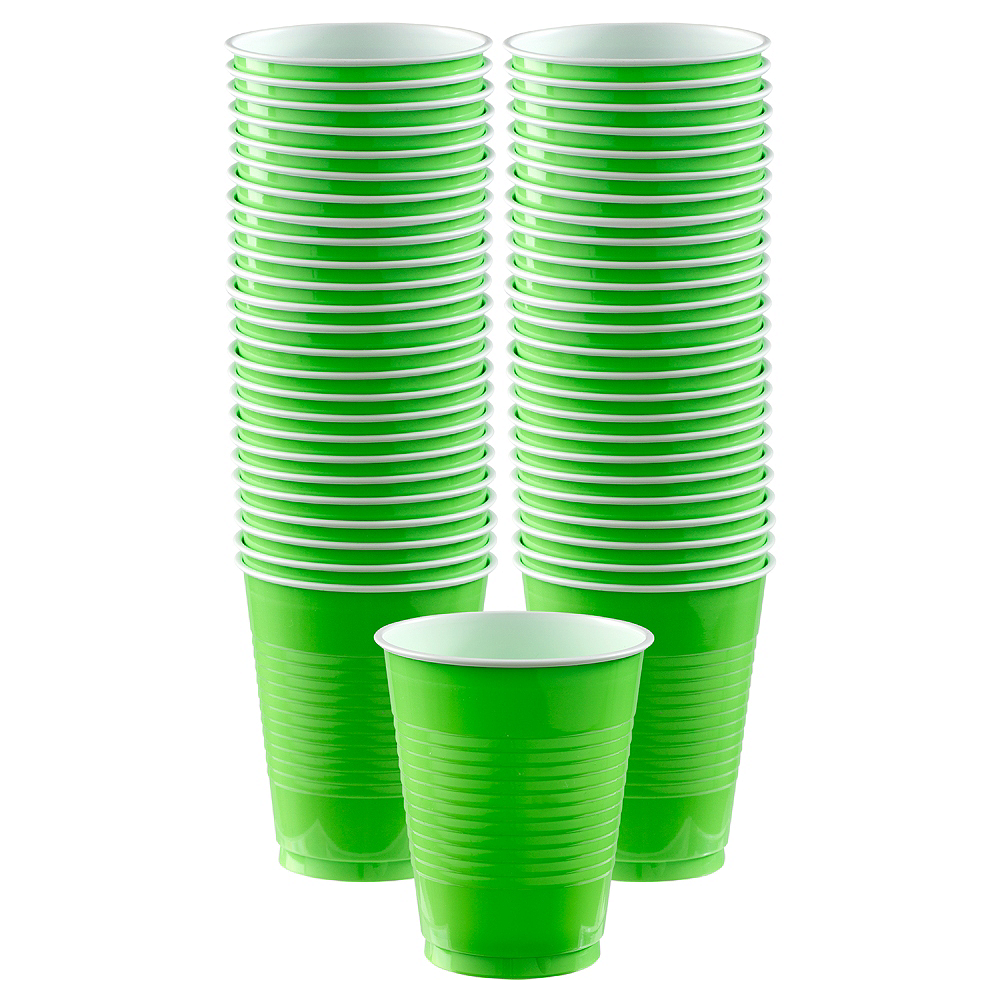 Big Party Pack Kiwi Green Plastic Cups 50ct Image #1