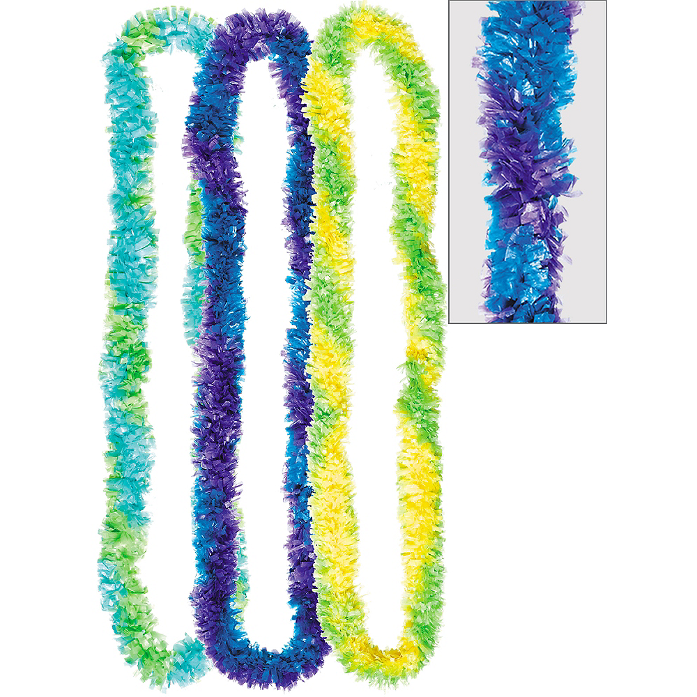 Cool Two-Tone Fringe Poly Leis 3ct Image #1