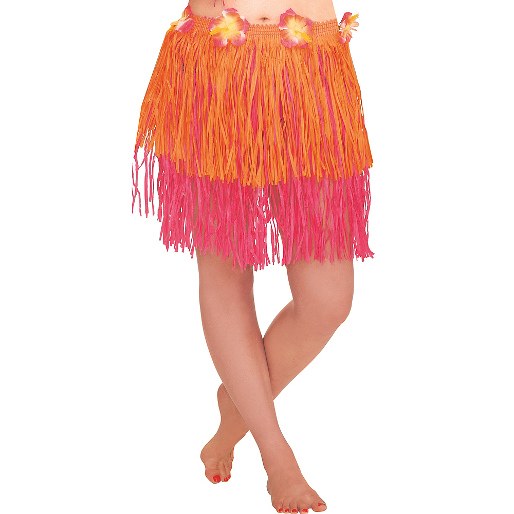 Adult Orange & Pink Mini Hula Skirt Image #1