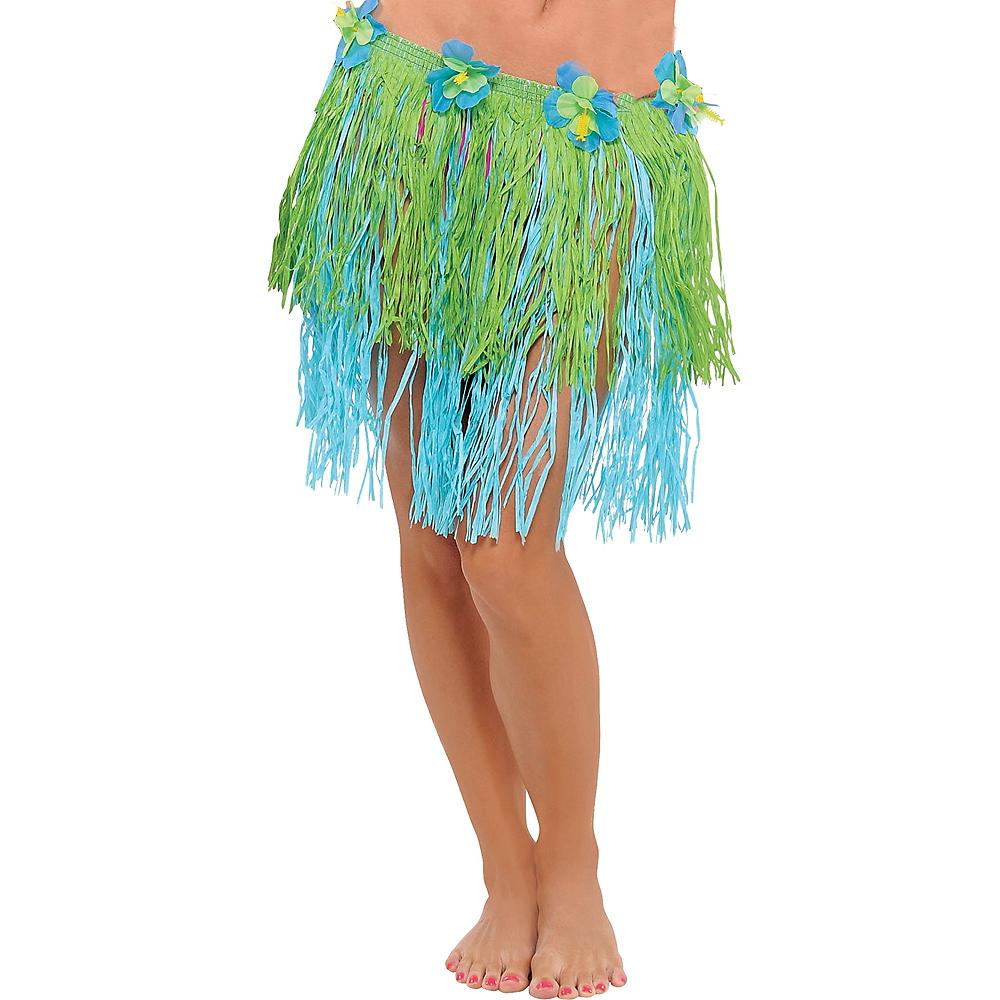Adult Blue & Green Mini Hula Skirt Image #1