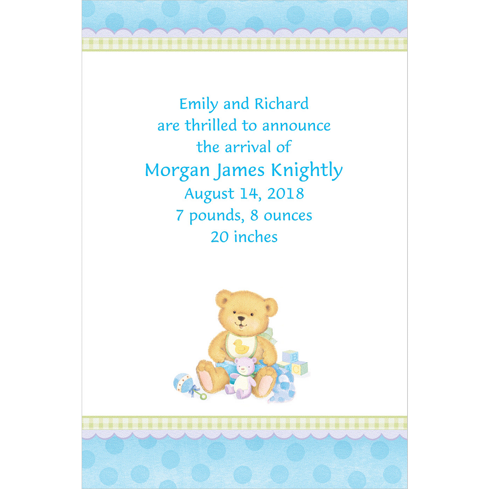 Custom Precious Bear Blue Birth Announcements Image #1