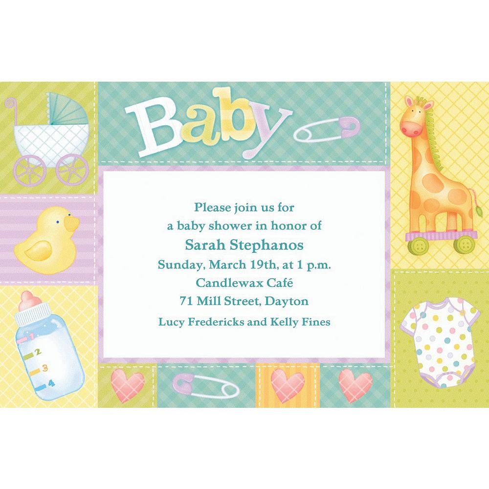 Custom Pastel Patchwork Baby Shower Invitations Image #1