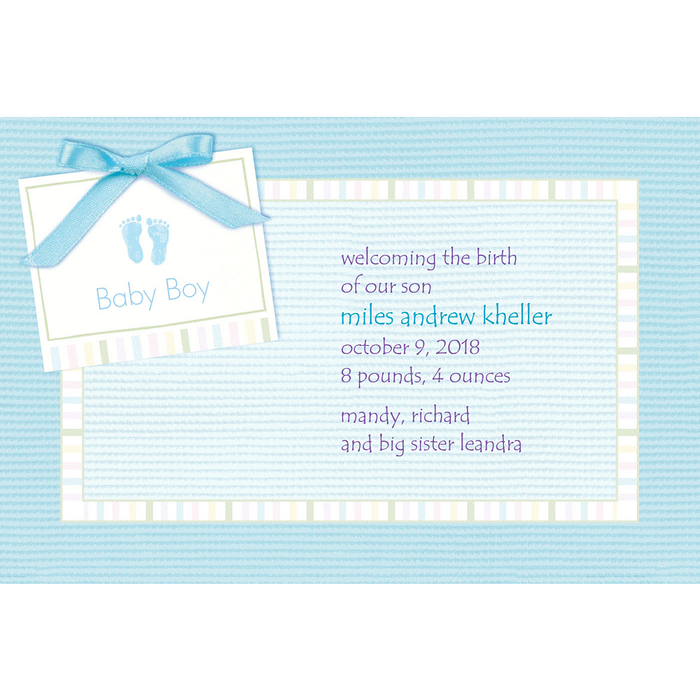 Custom Baby Soft Blue Birth Announcements Image #1