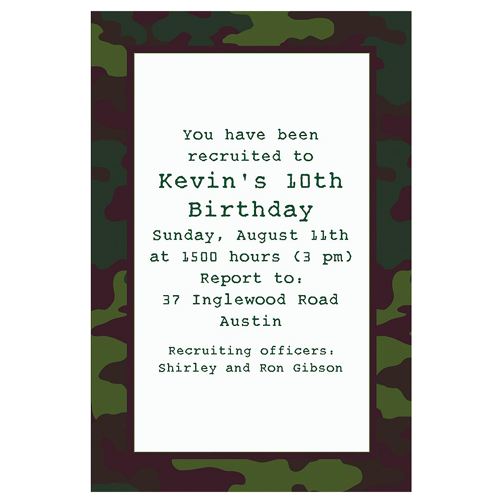 Custom Camouflage Invitations | Party City