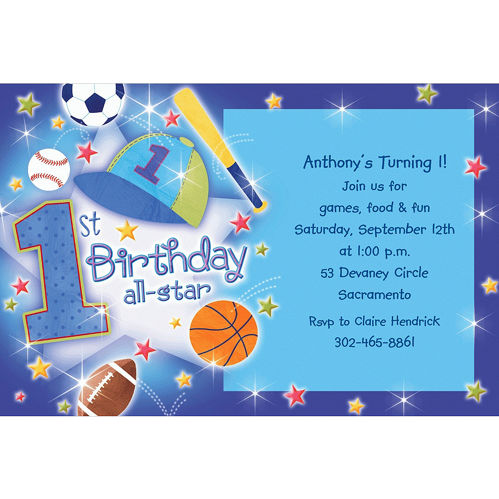 97adb0fdaca92 Custom All Star 1st Birthday Invitations | Party City