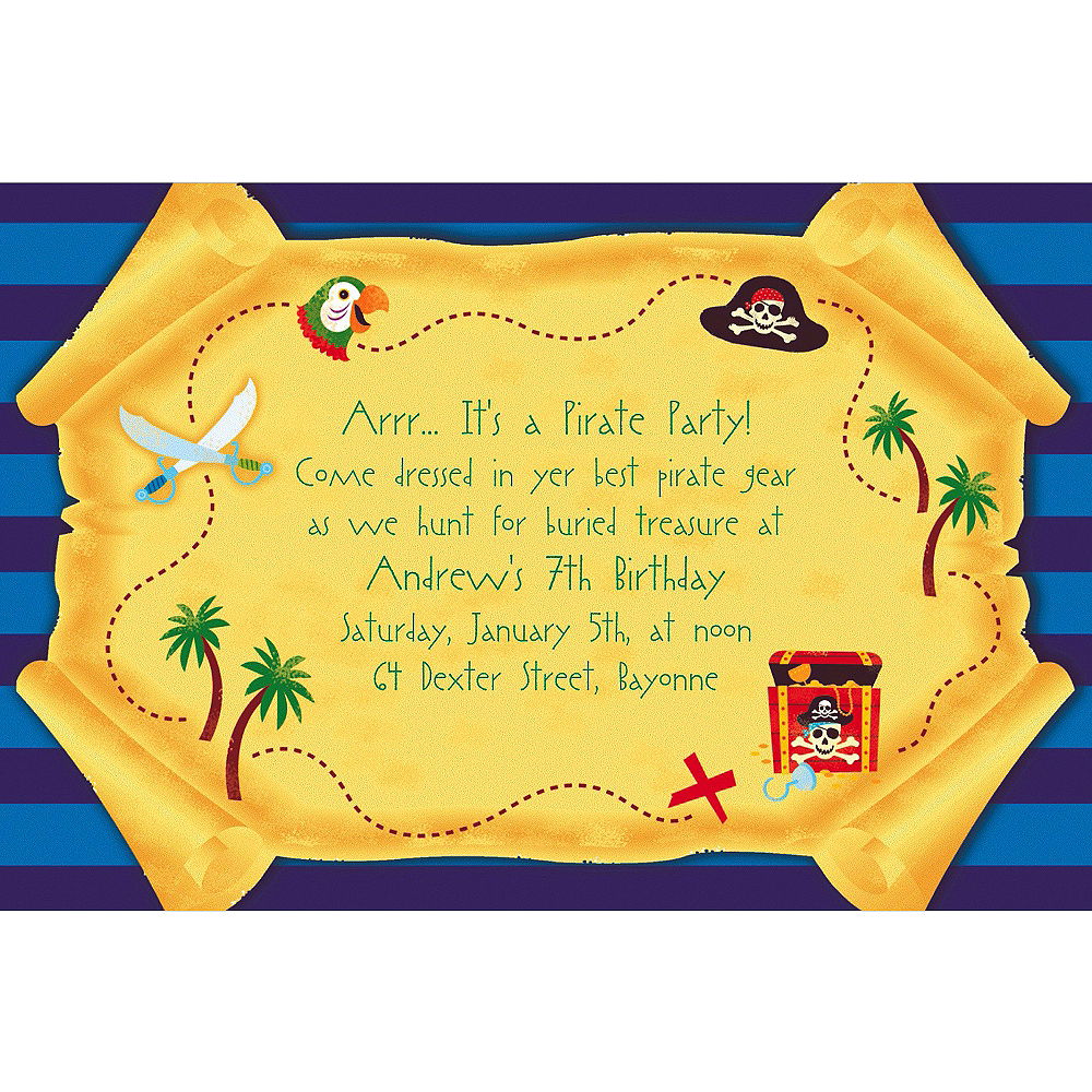 Custom Pirate Party Map Invitations Image #1
