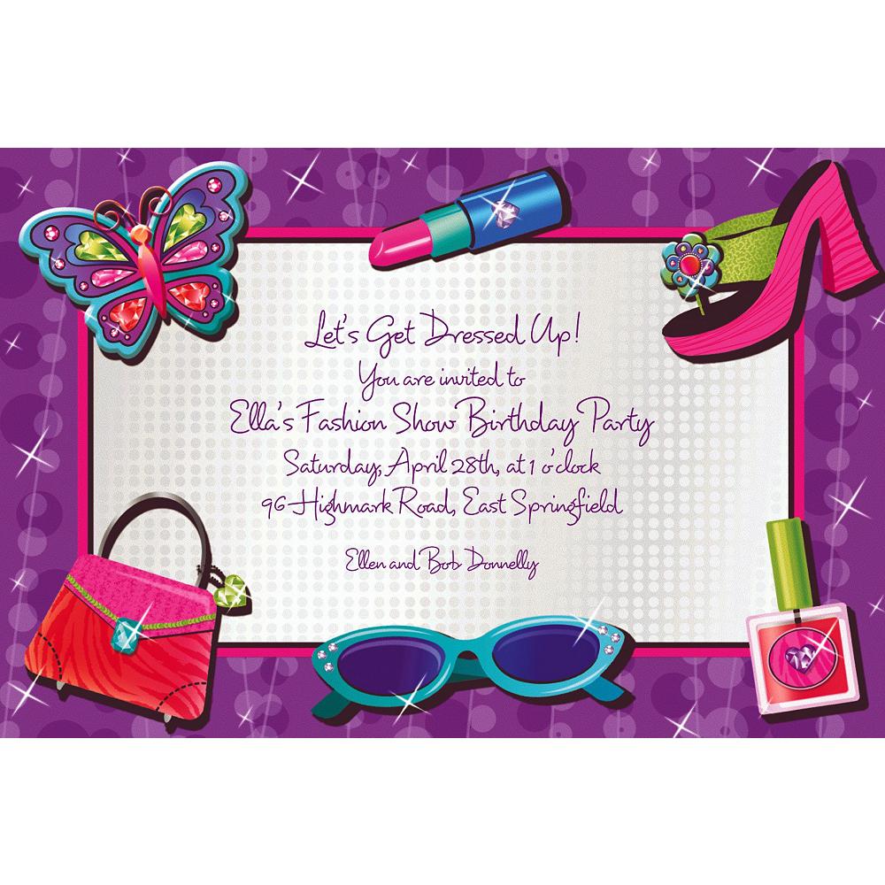 Custom Glitzy Girl Invitations Image #1