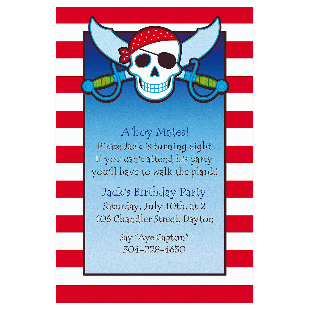 Custom Pirate Party Stripe Invitations Image #1