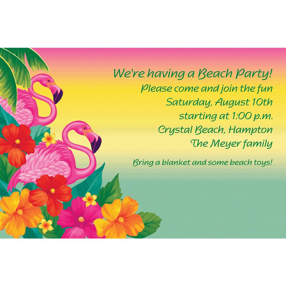 Custom Flamingo Beach Luau Invitations Image #1