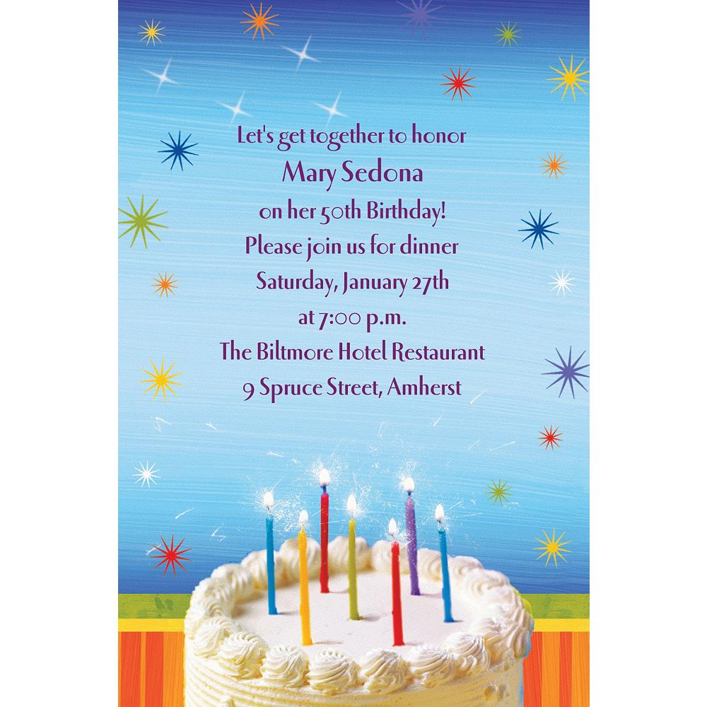 Custom Sparkle Wishes Birthday Invitations Image #1