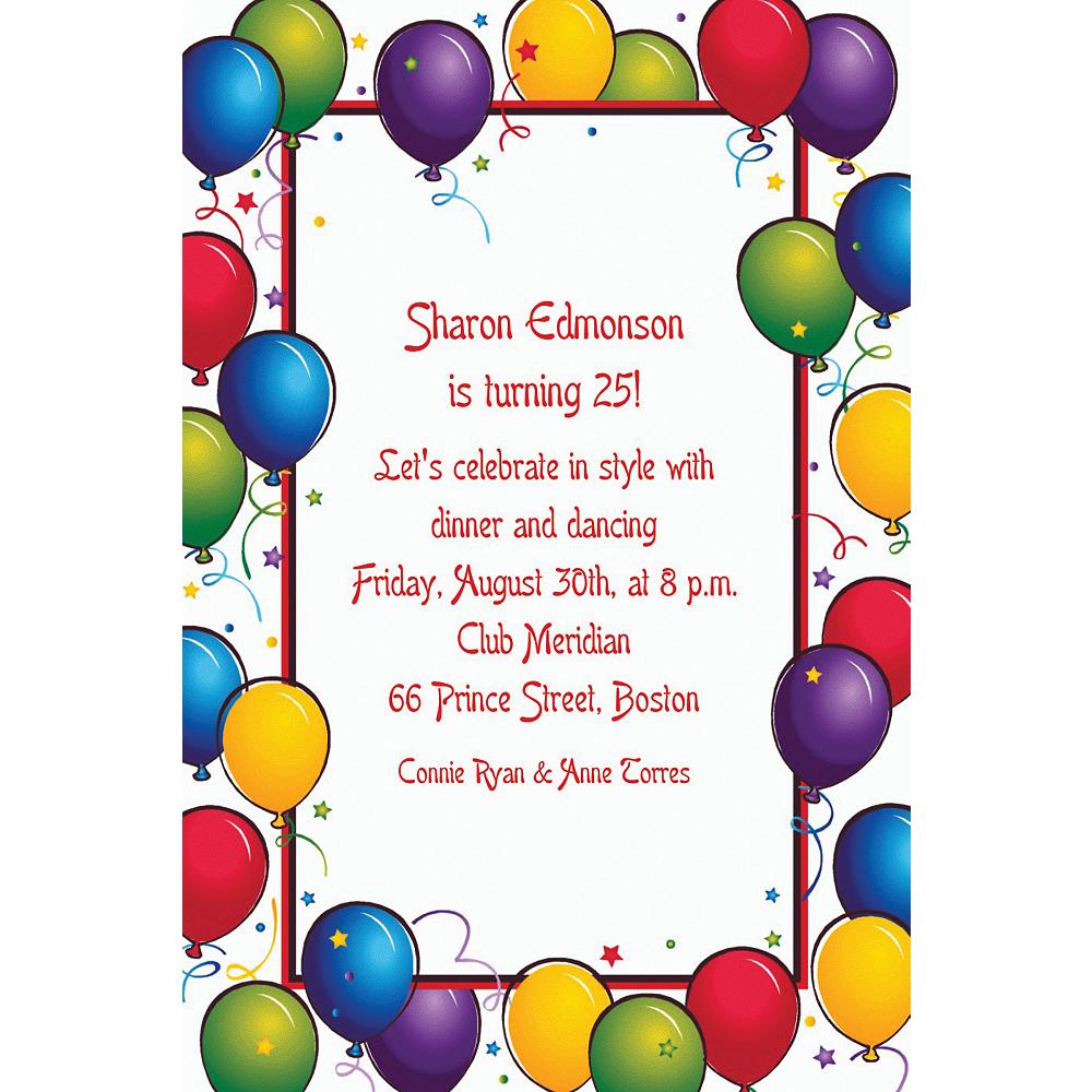 Custom Balloon Fun Birthday Invitations Image #1