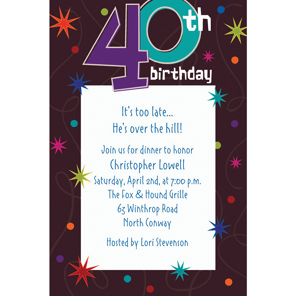 Custom The Party Continues 40th Birthday Invitations Image 1
