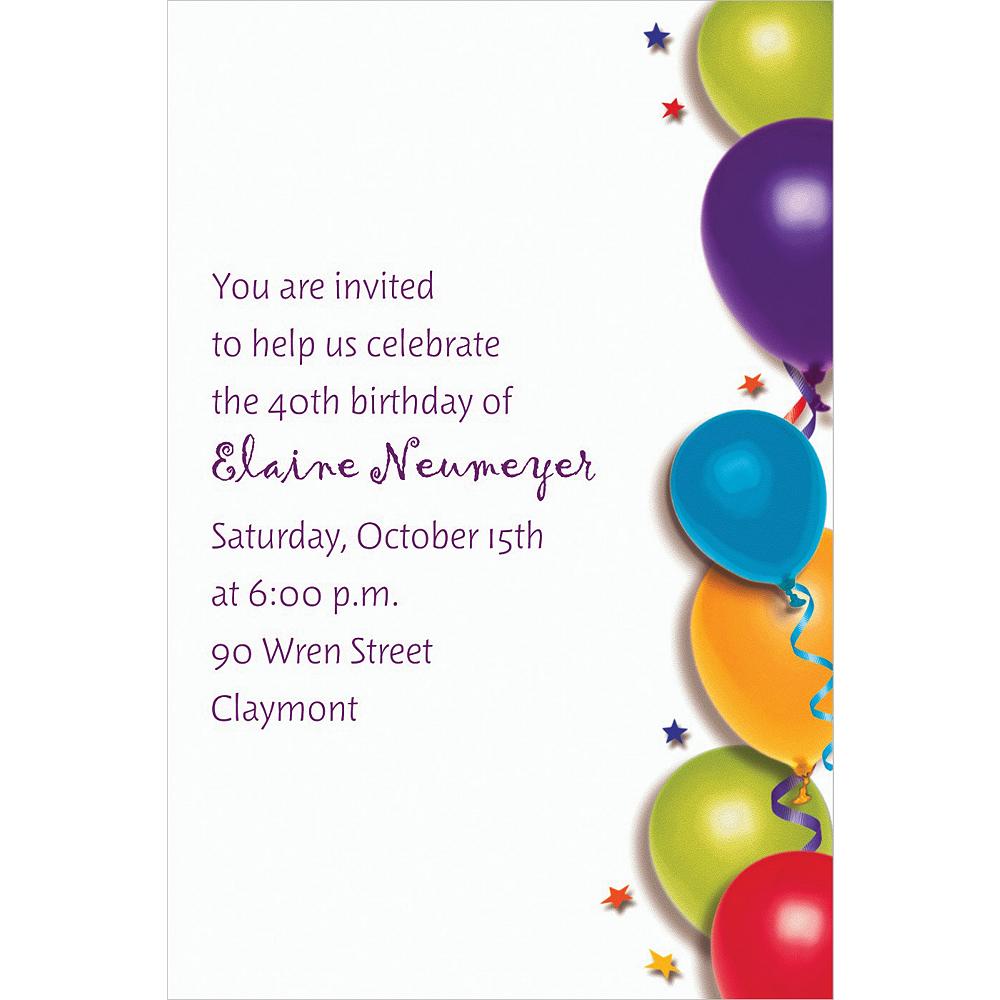 Custom Balloon & Stars Birthday Invitations | Party City