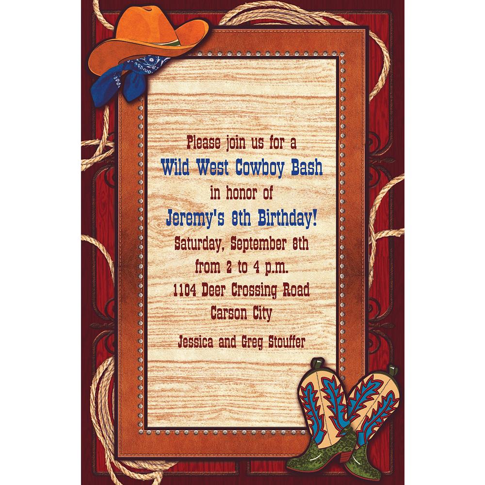 Custom Giddy Up Cowboy Western Invitations Image #1