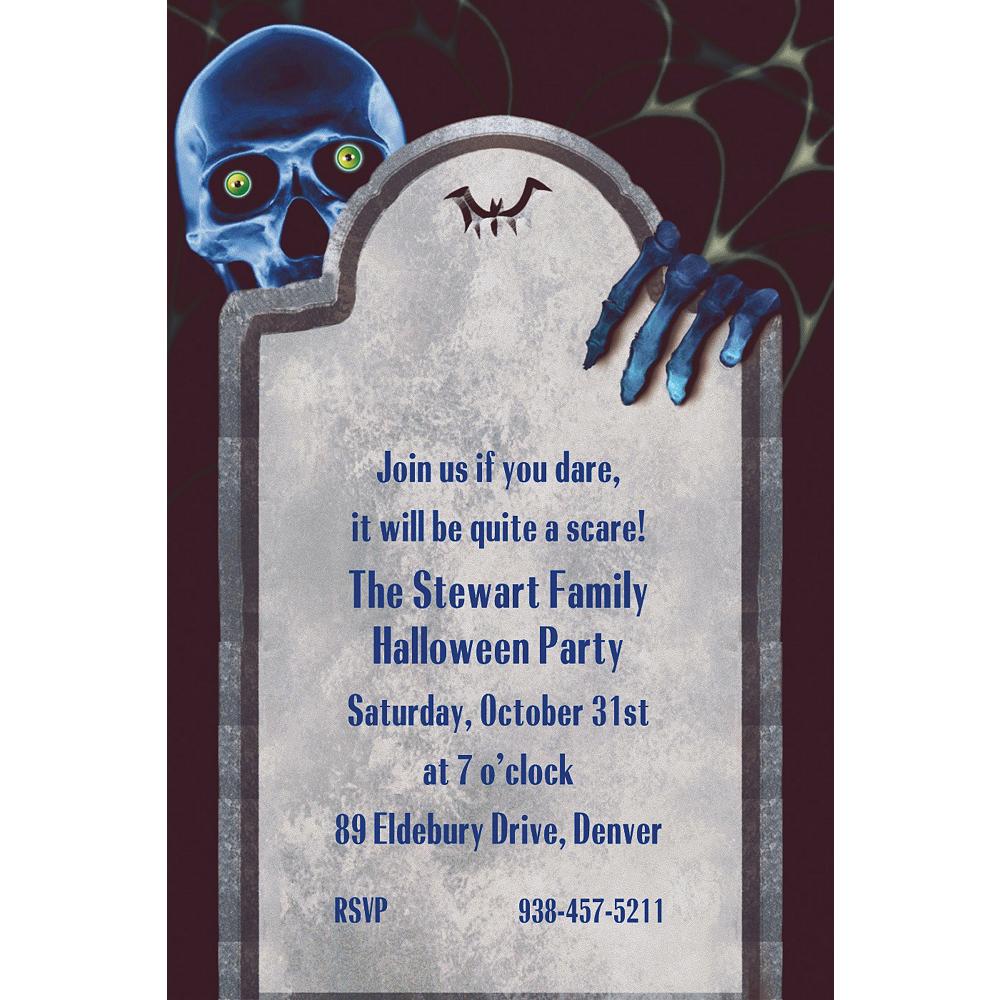 Custom Creepy Bones Halloween Invitations Image #1