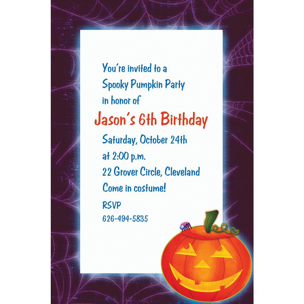 Custom Playful Pumpkin Halloween Invitations Image #1