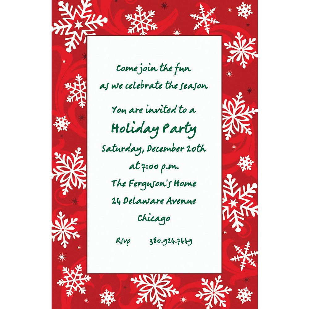 Custom Elegant Red Christmas Invitations Image #1