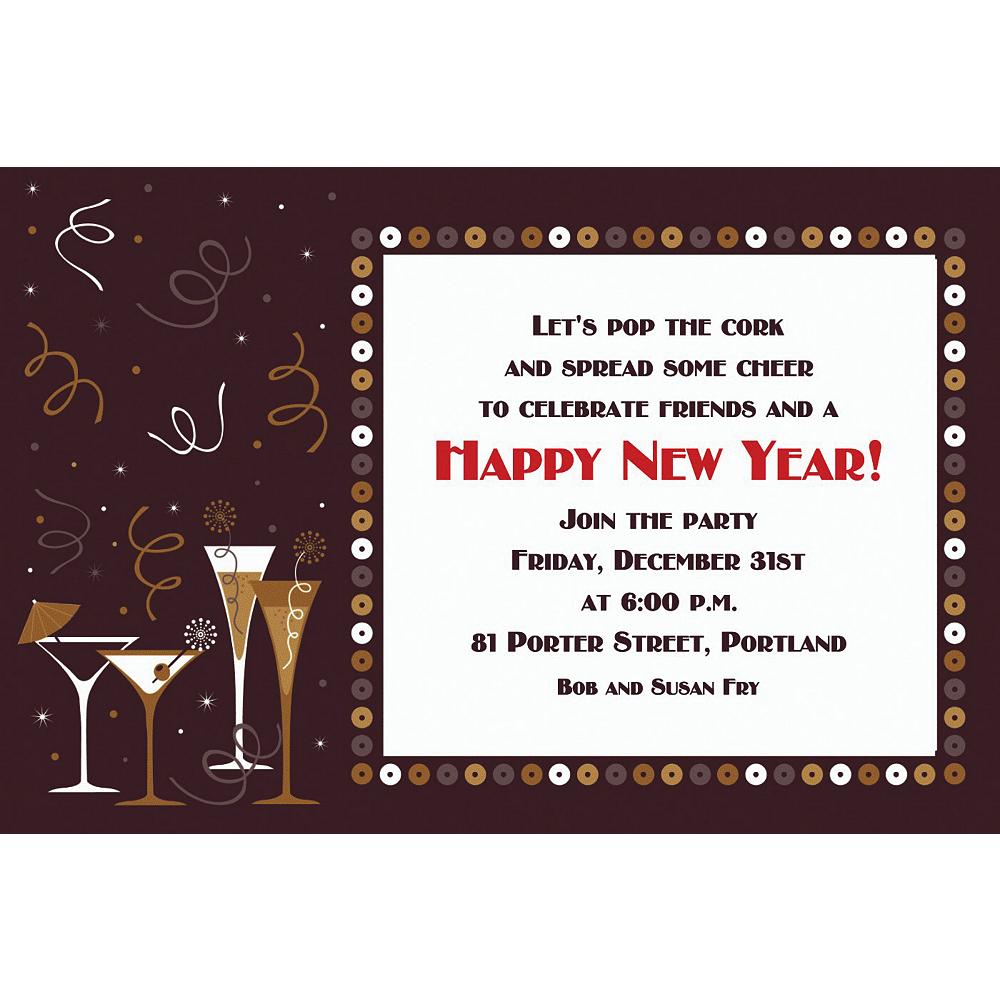 Custom Let's Toast New Year's Invitations Image #1