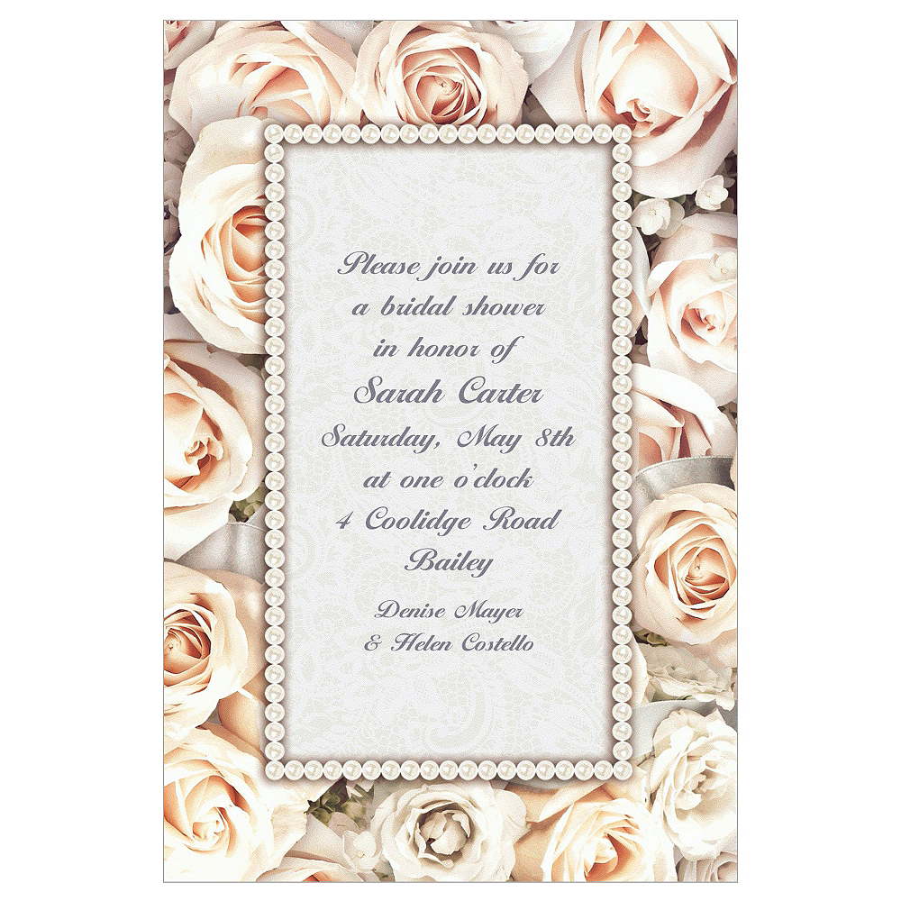 Custom Lovely in White Bridal Shower Invitations Image #1
