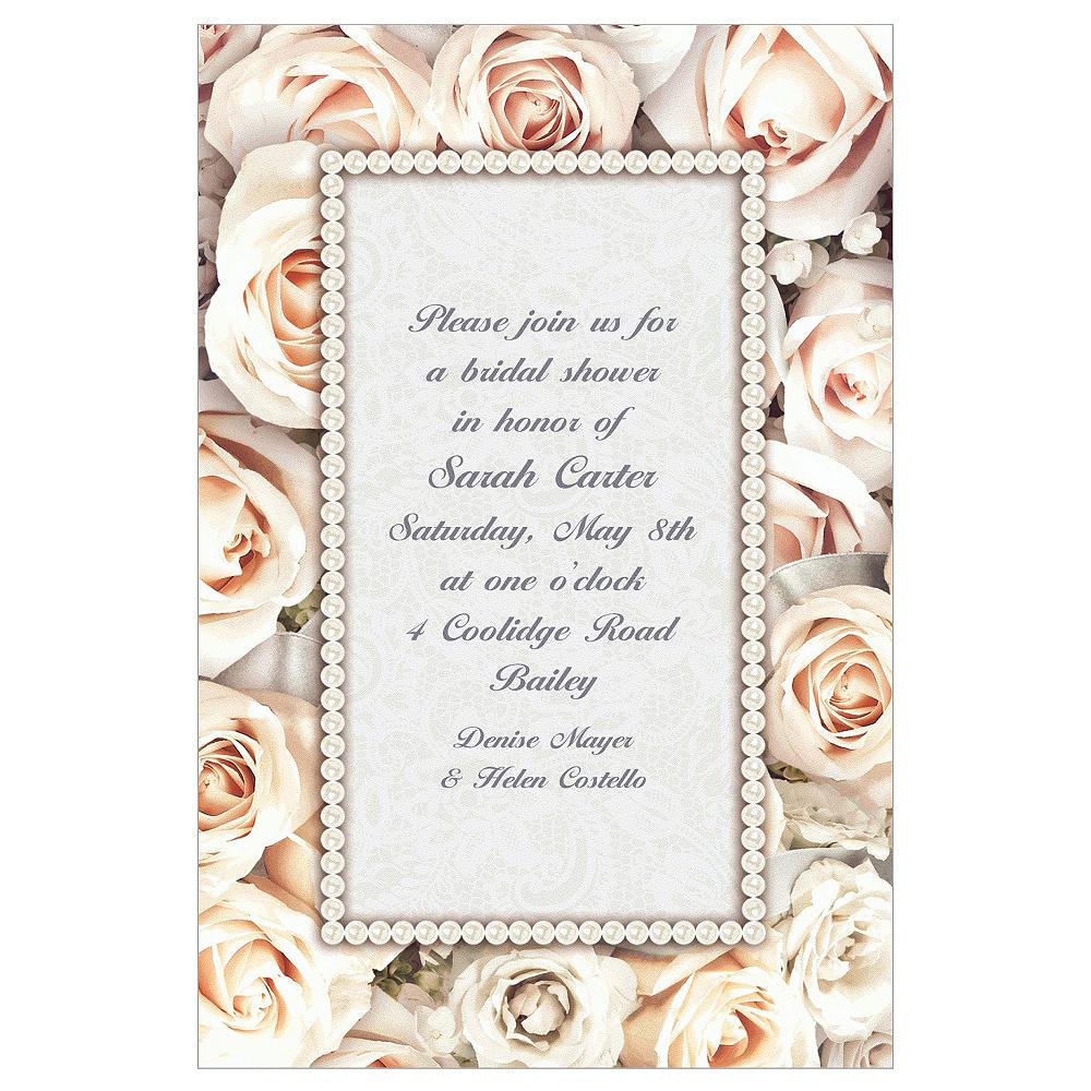 Custom Lovely in White Bridal Shower Invitations | Party City