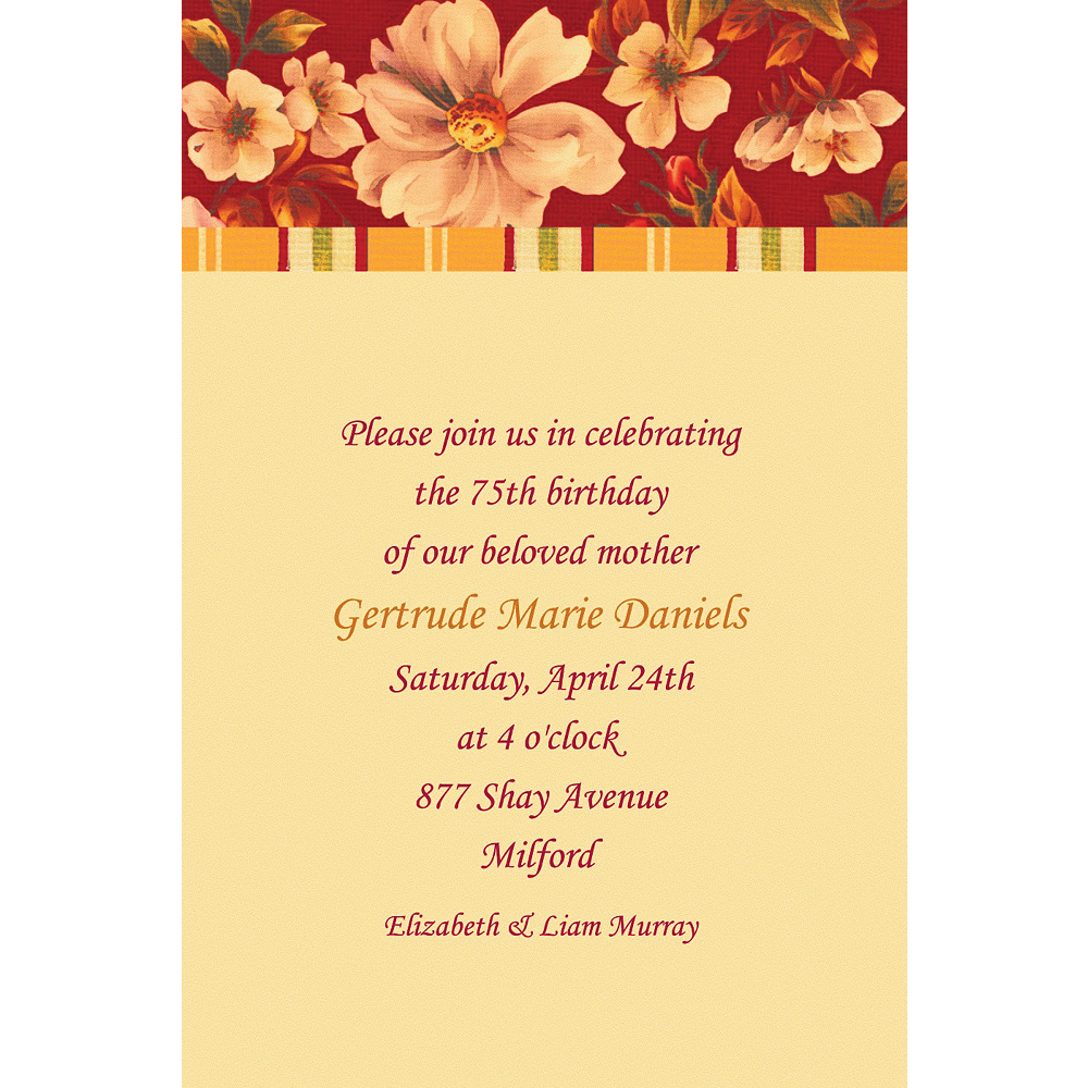 Custom Classic Red Floral Invitations Image #1